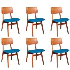 Danish Teak Dining Chairs, Set of Six, Blue