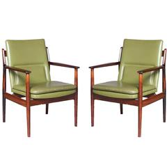 Pair of Green Arne Vodder Rosewood #431 Armchairs