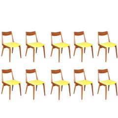 Boomerang Dining Chairs by Erik Christiansen, Set of Ten, Yellow