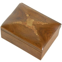 Roger Sloan Carved Wood Box Walnut with Inlaid Oak Root Cross Sections on Lid