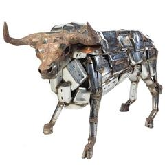 """Bull"" Large Sculptor Comprised of Car Bumpers by John Kearney"
