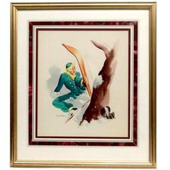 """Ski Bunny"" 1950s Illustration Watercolor and Guache Framed"