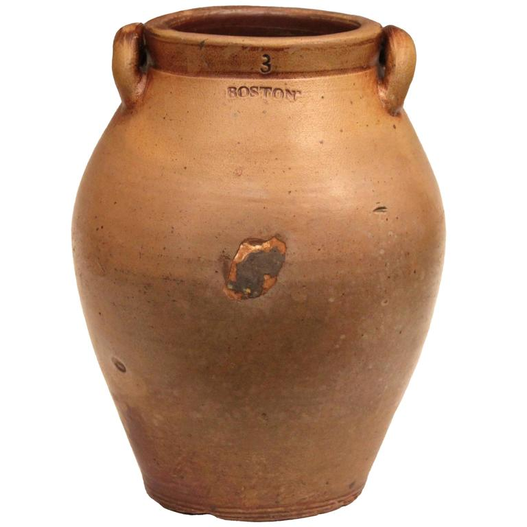 Antique Early 19th Century American Boston Crock Stoneware