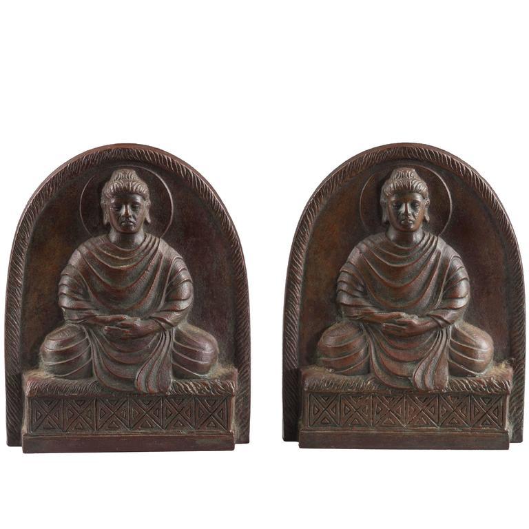 Tiffany Studios Bronze Buddha Bookends, circa 1900