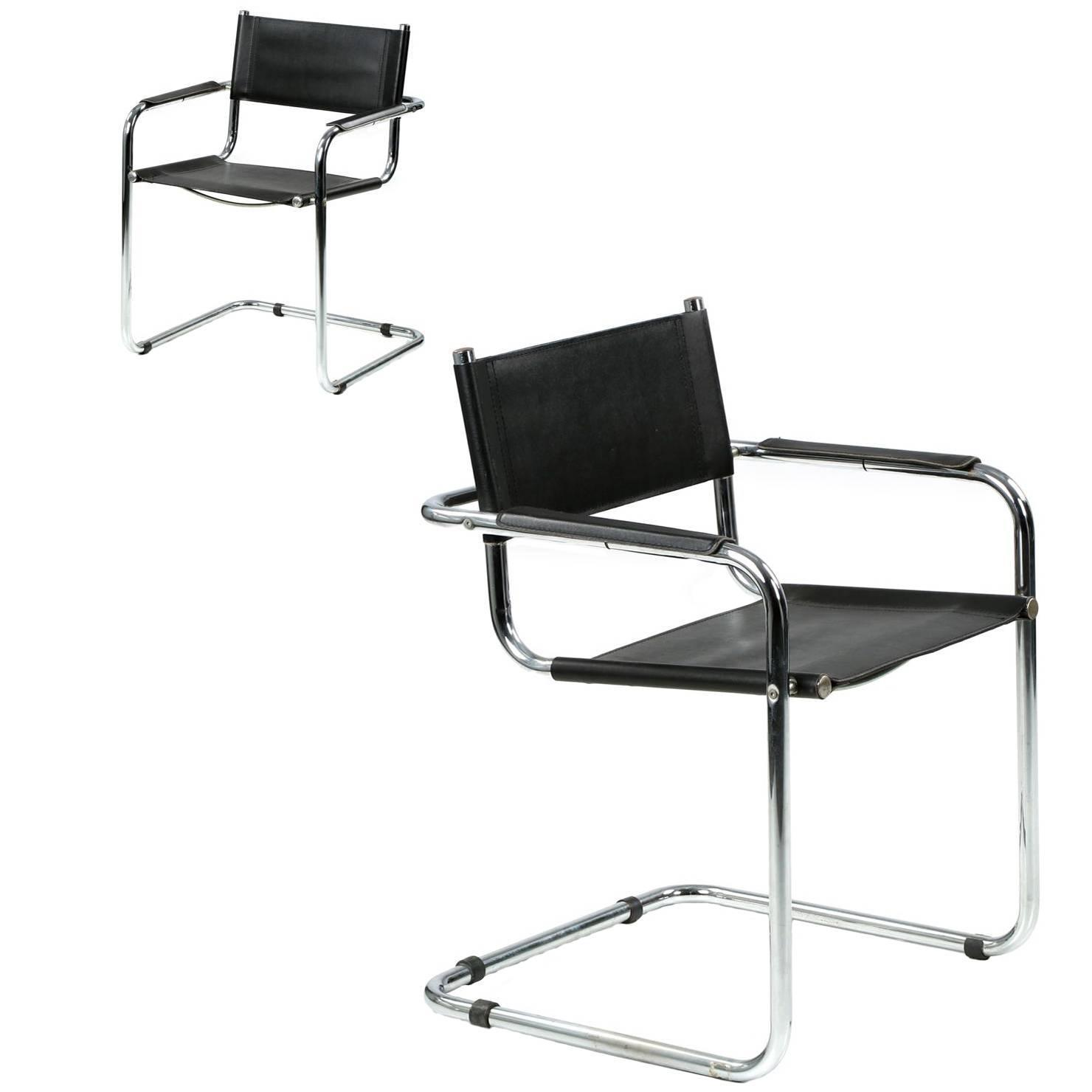 Pair of mid century modern chrome and leather cantilever for Mid century modern leather chairs