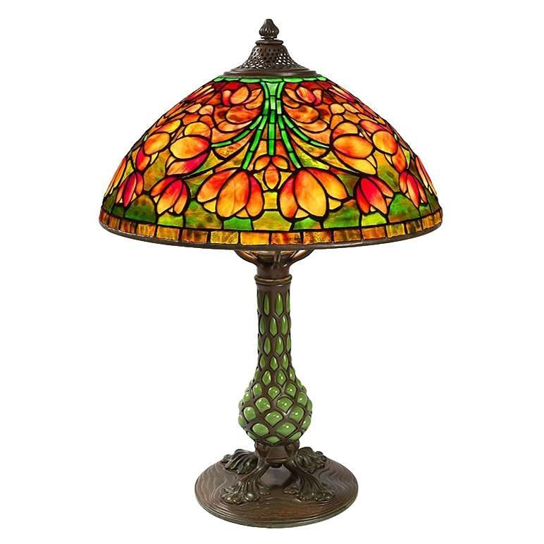 Tiffany Studios Acorn Leaded Glass Table Lamp At 1stdibs
