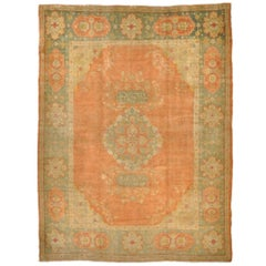 Antique Hand Knotted Angora Wool Salmon Color Turkish Oushak Rug