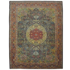 Large Antique Hand Knotted Wool Persian Tabriz Rug