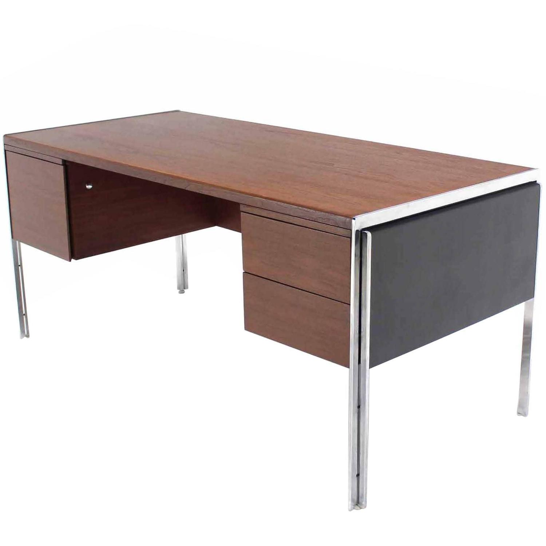 Rare Chrome And Walnut Stow Davis Desk At 1stdibs