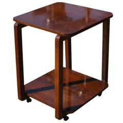 Art Deco Two-Tier Wooden Cart Side Table