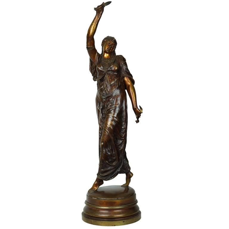 Orientalist Bronze Figure of Standing Turkish Woman Dancer Signed Lalouette