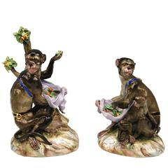 Pair Meissen Nicest Monkey Figurines by Kaendler Models 1464 and 1469,circa 1850