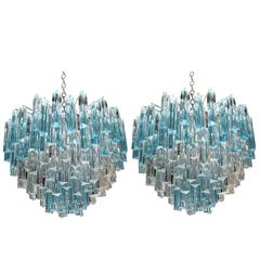 Rare and Spectacular Pair of Italian Aquamarine Triedri Chanaliers