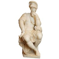 Fantastic Carved Italian Marble Figure of a Seated Roman Soldier