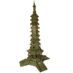 Very Large Chinese Carved Serpentine Pagoda