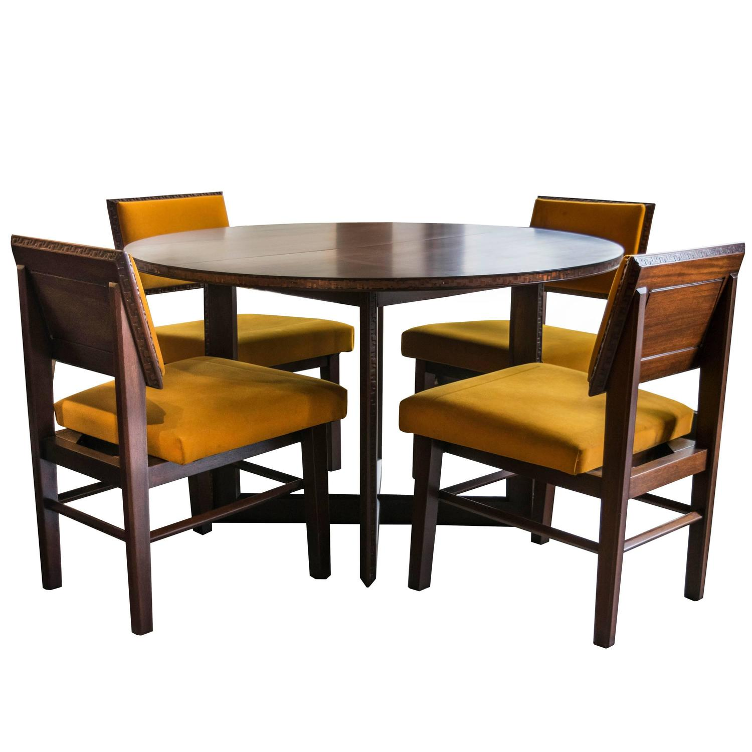 Frank Lloyd Wright For Henredon Dining Table With Chairs At Stdibs - Alyssa dining room set