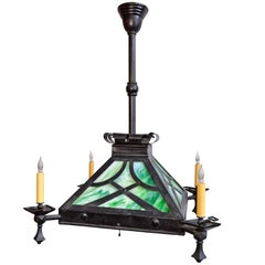 Craftsman Iron Gas Fixture with Green Slag Glass