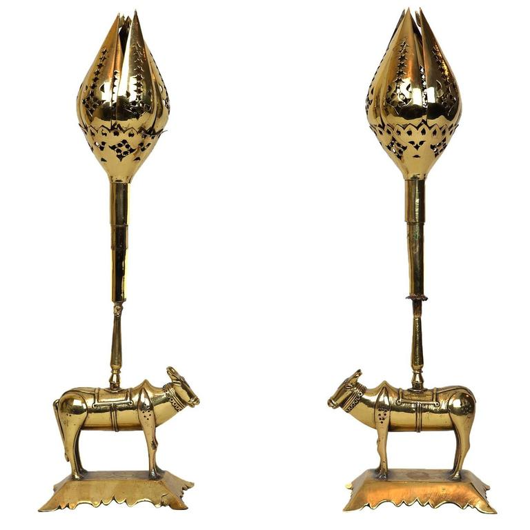 Unusual pair of tulip form brass candleholders for sale at for Quirky items for sale