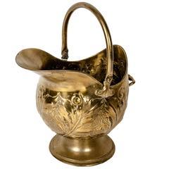 Vintage English Brass Fire Log Bucket