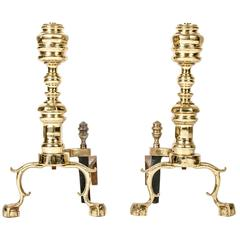 Vintage Solid Brass Andirons