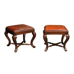 Pair of Italian Wood and Leather Stools from the Late 19th Century