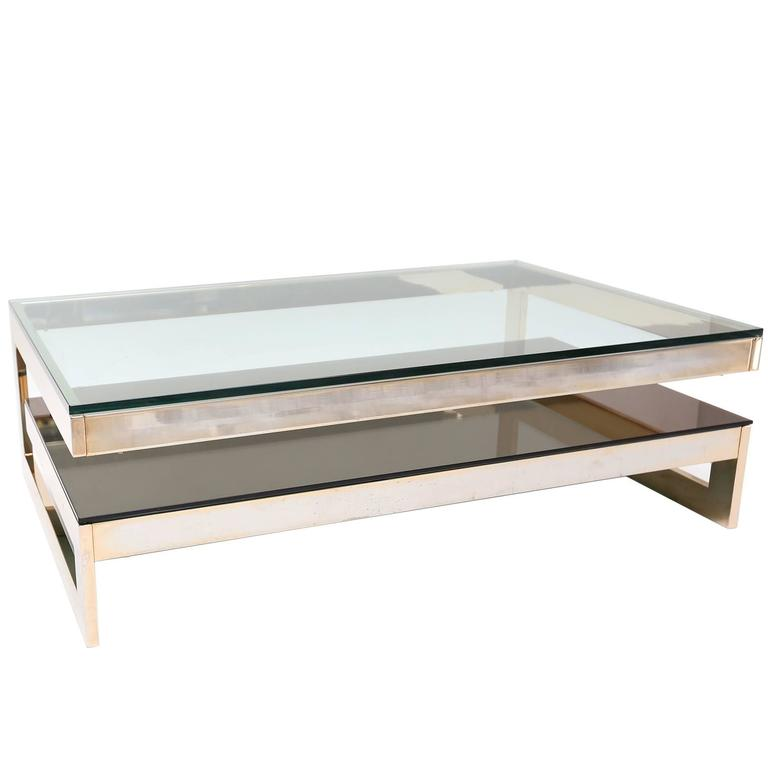 Charles Modern 47 Square Glass Top Coffee Table W: 23 Kt Gold Layered Two Tier Coffee Table For Sale At 1stdibs