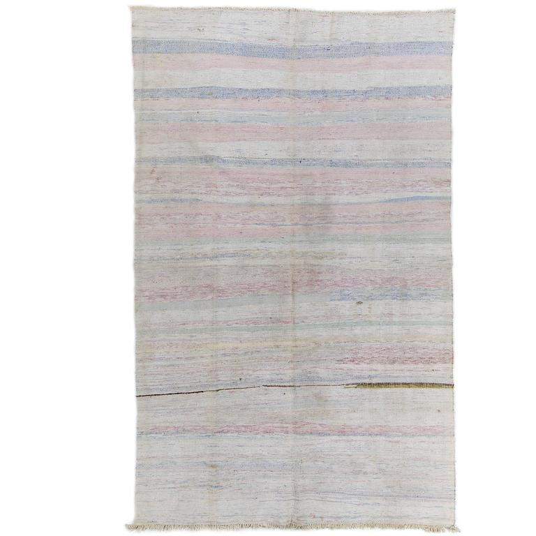 Cotton Turkish Kilim In Pastel Colors For Sale At 1stdibs