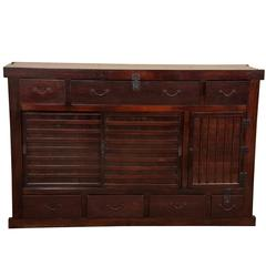 Large Japanese Tansu Cabinet of Lacquered Wood and Enameled Steel
