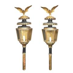 Pair of 19th Century Large Brass Coach Lanterns with Eagle