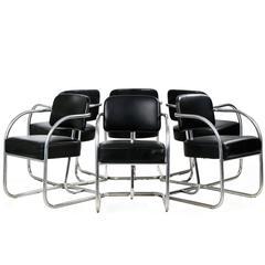 Set of Six Chrome and Leather Tubular Dining Armchairs, KEM Weber