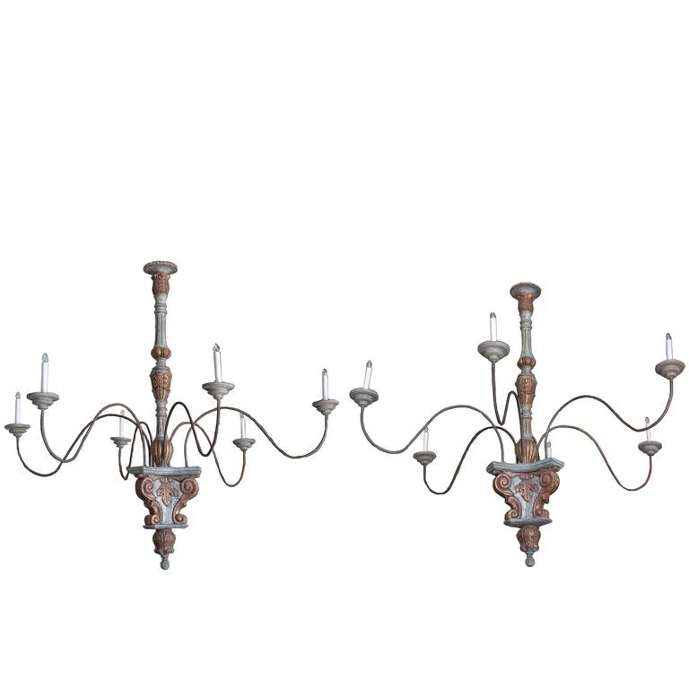 Pair of Large Painted and Tole Chandeliers