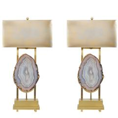 Custom Pair of Brazilian Agate Table Lamps in the Style of Willy Daro