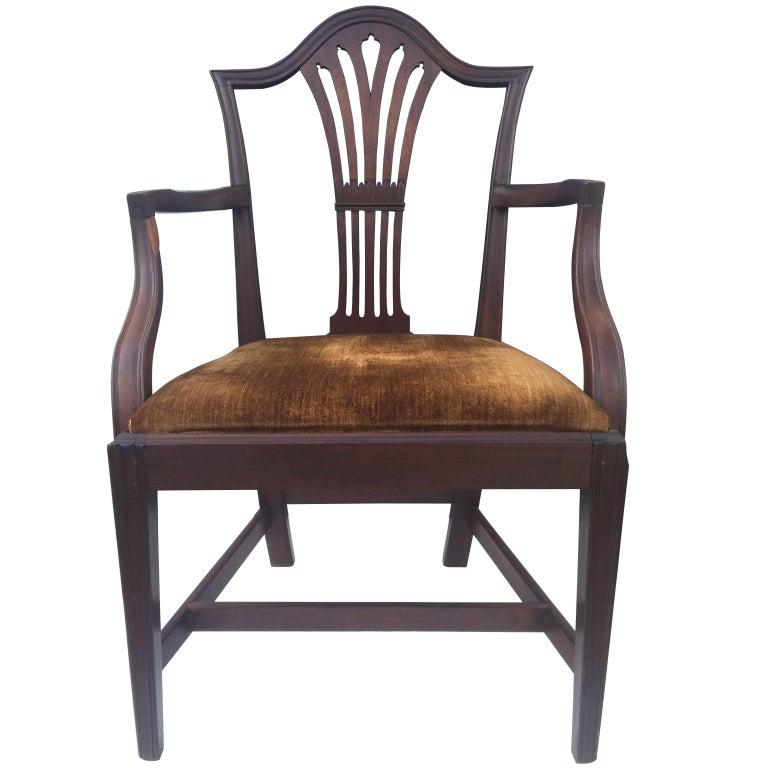 English Mahogany Hepplewhite Armchair, 1780 For Sale