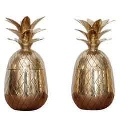 One of two Huge Brass Pineapple Ice Bucket or Trinket or Candy Box