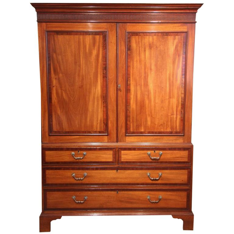 Early 19th century mahogany linen press circa 1840 at 1stdibs for Linen press