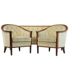 1960s Mahogany Scandinavian Modern 3 Piece Suite by Andersson