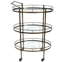 Modern Three-Tier Brass Bar or Serving Cart