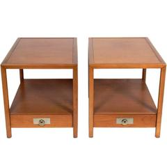 Pair of Clean Lined Nightstands or End Tables by Michael Taylor for Baker