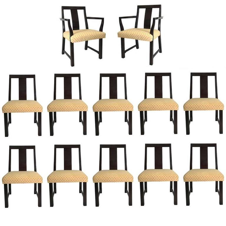 Set of Twelve Dining Chairs Designed by Edward Wormley for Dunbar