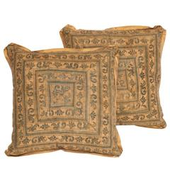 Pair of Square Fortuny Cushions using 1920s Fabric