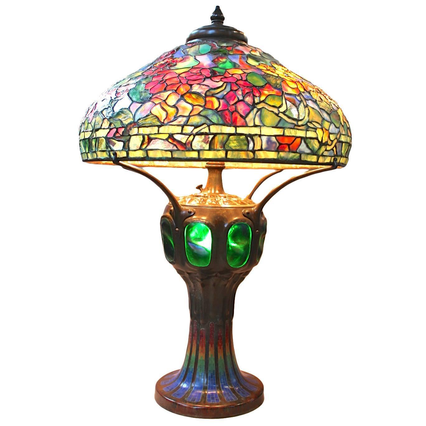 tiffany style leaded glass nasturtium lamp shade by paul crist at. Black Bedroom Furniture Sets. Home Design Ideas