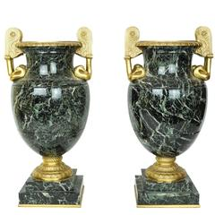 Pair of Neoclassical Marble and Bronze Urns with Bronze Swan Handles