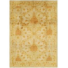 Antique Spanish European Carpet with Pineapple Design in Gold, Cream and Orange