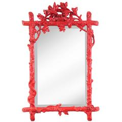 French Red Painted Mirror