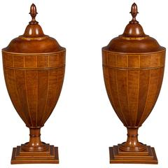 Very Fine Pair of Chippendale Period Cutlery Urns