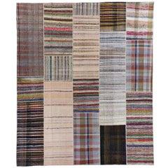 Vintage Cotton Rag Rug. Kilim carpet, Size Adjustable