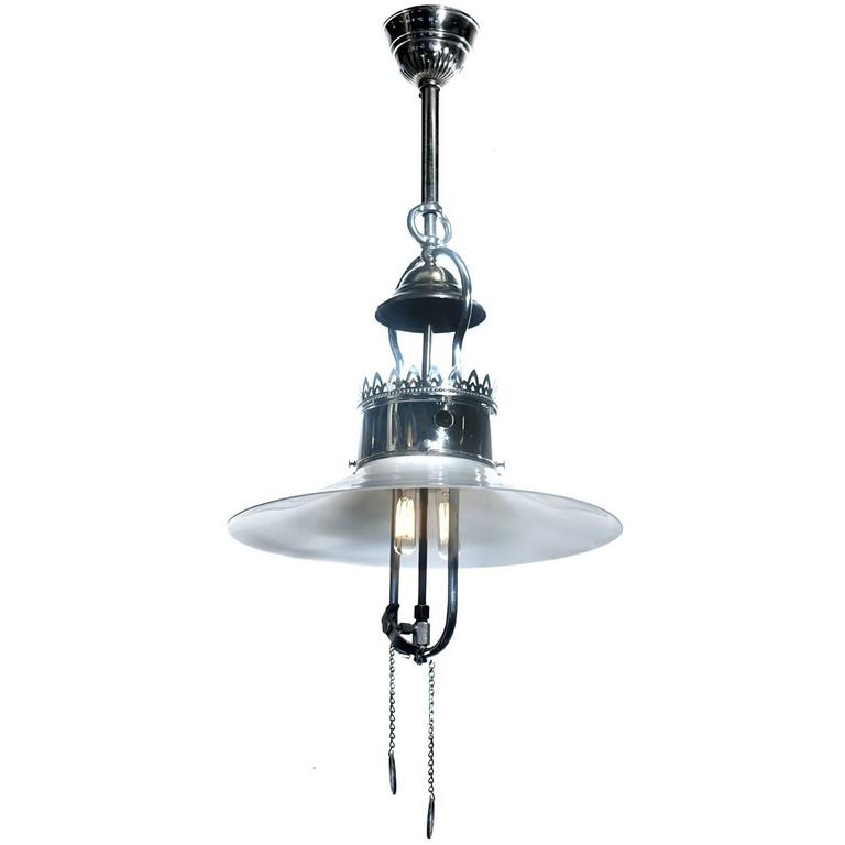 Simple and Elegant Converted Gas Lamp, Nickel-Plated