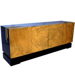 One of a Kind Four-Door Acid Etched Brass Sideboard Design by Felix de Boussy