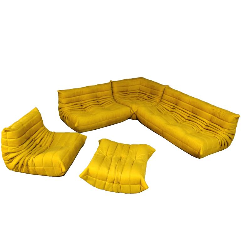 Vintage Yellow Togo Sofa Set Michel Ducaroy For Ligne Roset France At 1stdibs