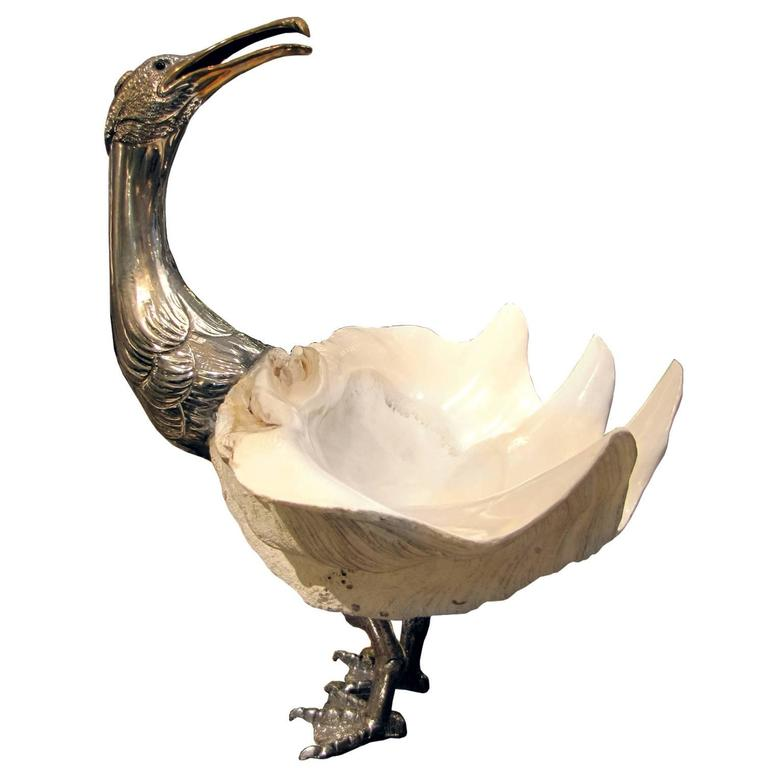 """""""Goëland,"""" Mounted Object in Sea Shell and Silvered Bronze, circa 1970 For Sale"""